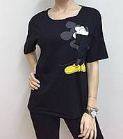 Летняя женская турецкая футболка с веселым мышонком черная