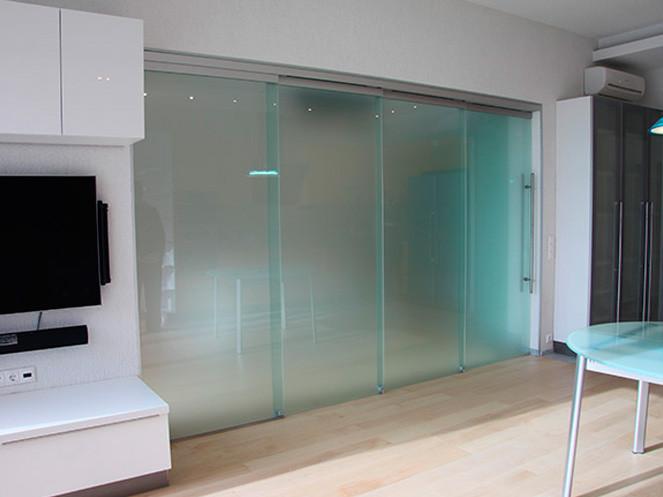 8 Стеклянная раздвижная перегородка для дома из матового стекла с зацепами