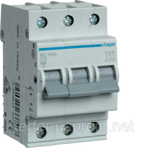 Автоматичний вимикач 3P 6kA C-10A 3M  MC310A Hager