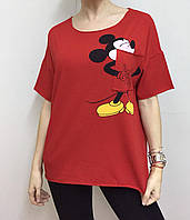 Летняя женская турецкая футболка с веселым мышонком красная