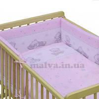 """Защитные бортики в кроватку """"Мишки с игрушками""""розовый, фото 1"""