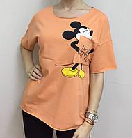 Летняя женская турецкая футболка с веселым мышонком орандж