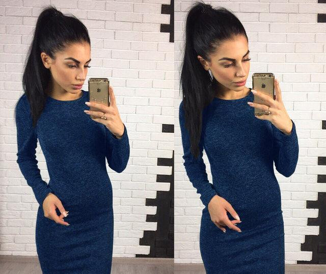 Женское платье из ангоры Rondo / размер 42,44,46,48 цвет синий