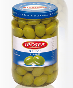 Оливки зеленые гигантские Olive giganti Iposea, 1 кг.