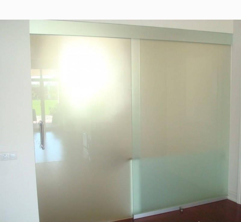 10 Стеклянная дверь-перегородка раздвижная  из каленного матового стекла