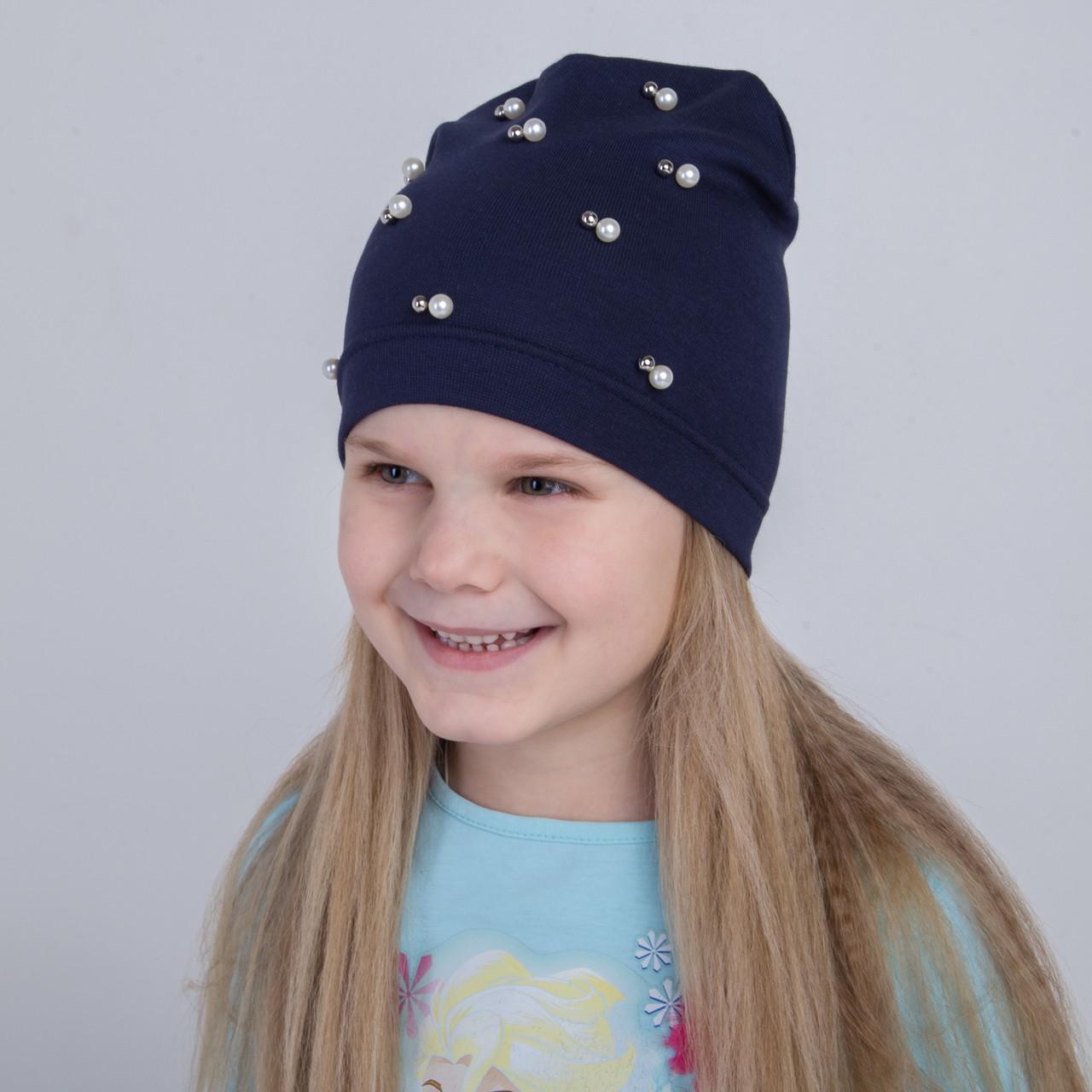 Модная весенняя шапка для девочек  - Бусинки - Артикул 2064