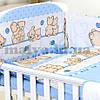 """Защитные бортики и постельный набор в кроватку """"Друзі ведмедики"""" бортики с четырех  частей"""