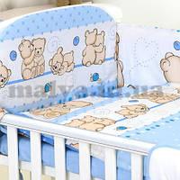 """Защитные бортики и постельный набор в кроватку """"Друзі ведмедики"""" бортики с четырех  частей , фото 1"""