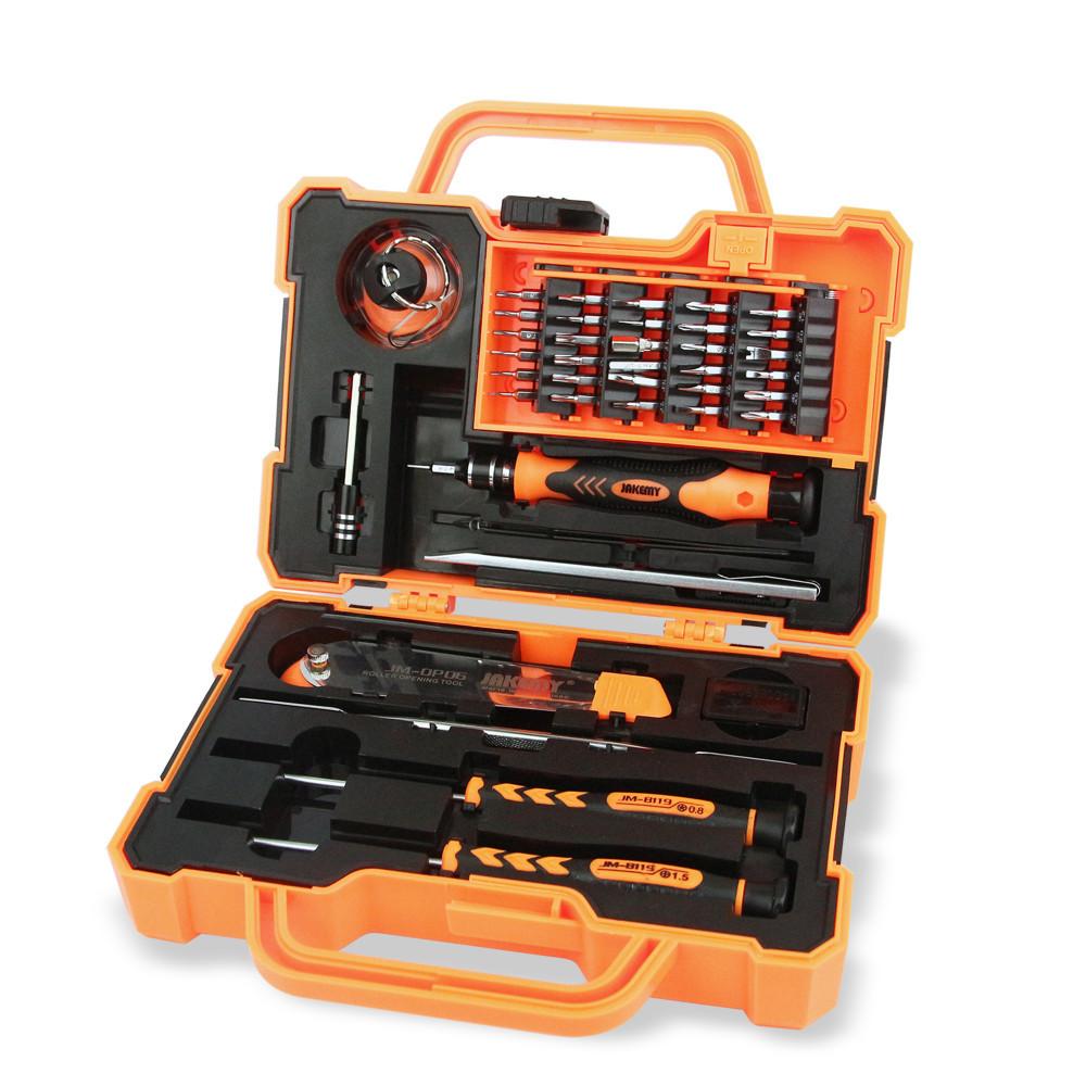 Набор инструментов JAKEMY JM-8139 в кейсе отвертки, лопатки, присоска, нож, пинцет