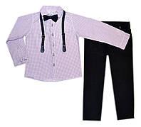 Классический костюм на мальчика с бабочкой и подтяжками 5-8лет Турция
