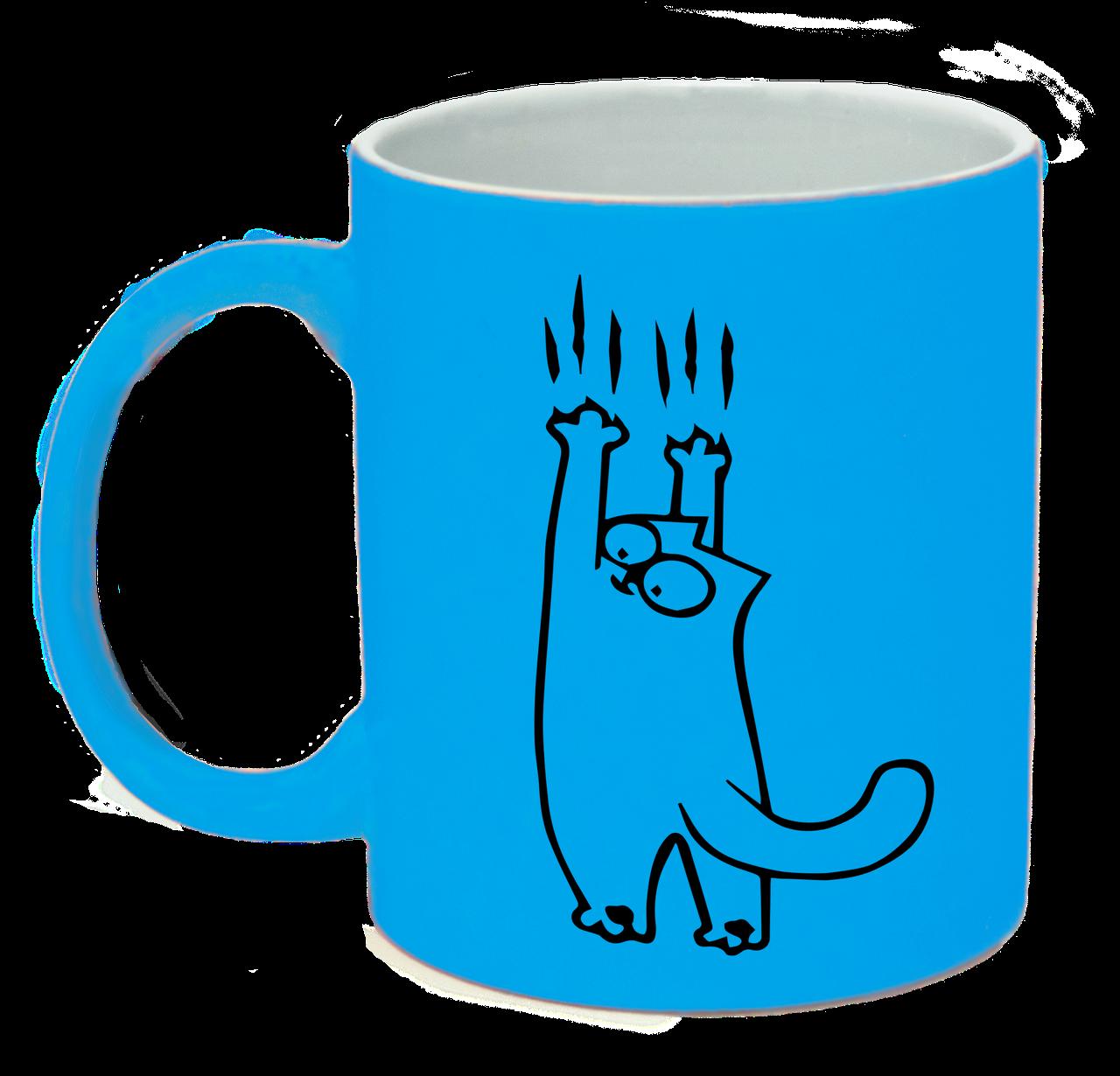 """Неонова матова чашка c """"Кіт Саймона сповзає"""", яскраво-блакитна"""