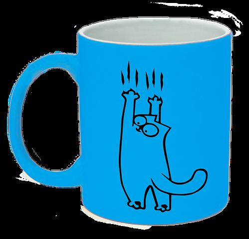 """Неоновая матовая чашка c """"Кот Саймона сползает"""", ярко-голубая"""