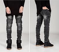 Серые Гетто Swag джинсы узкачи слимфит  Biker Jeans SlimFit