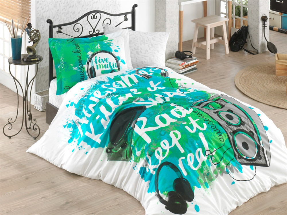 КПБ HOBBY Poplin Love Music зелений 160*220/1*50*70