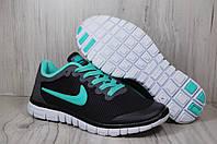 Женские кроссовки для зала и бега Nike Free Run(черные, бирюзовые, сетка)