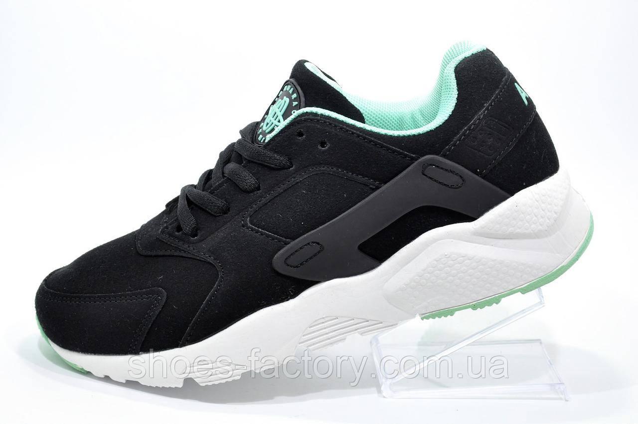 Кроссовки женские в стиле Nike Air Huarache, Black\Turquoise\White