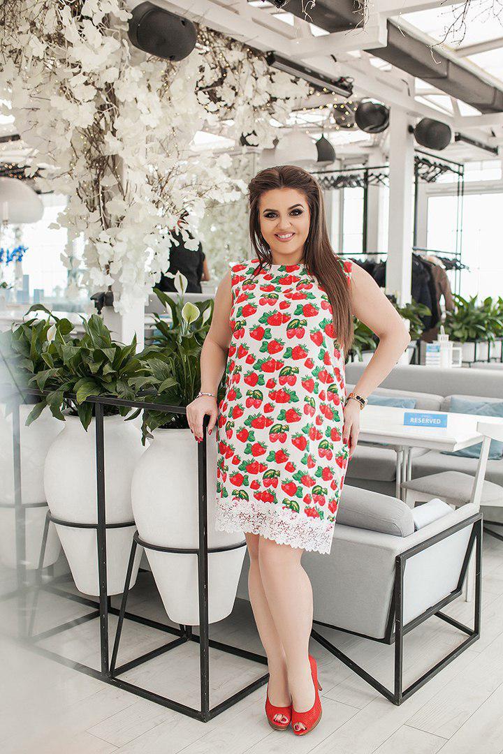 Платье больших размеров 50 +, с принтом , отделка кружево / 3 цвета арт 4541-8