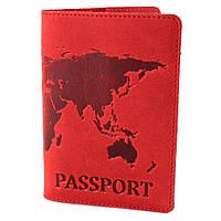 """Обкладинка шкіряна на закордонний паспорт """"Карта"""" (червона)"""