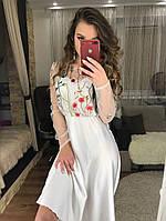 Женское платье из шелка + сетка +вышивкой valentino