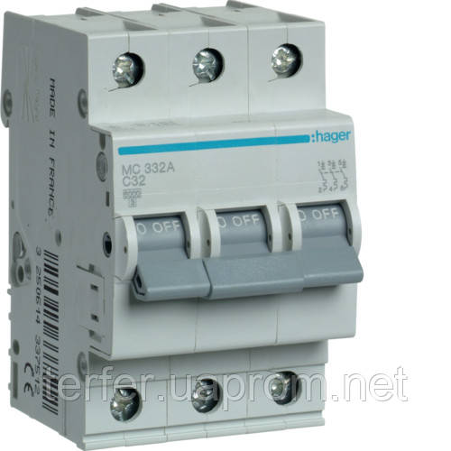 Автоматичний вимикач 3P 6kA C-32A 3M  MC332A Hager