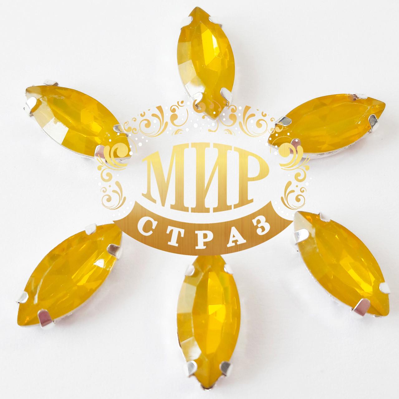Cтразы в золотых цапах Лодочка, 7х15мм, цвет Topaz Opal, 1шт