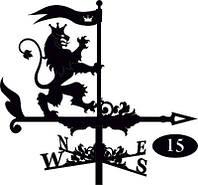 Флюгер на крышу Лев с флагом
