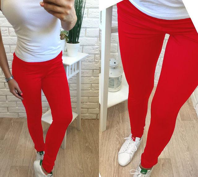Женские спортивные леггинсы Simple цвет красный размер 42-50