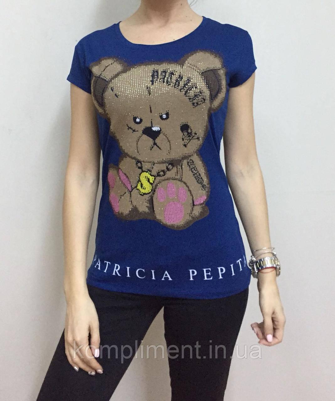 Летняя женская турецкая футболка  рисунком мишки синий