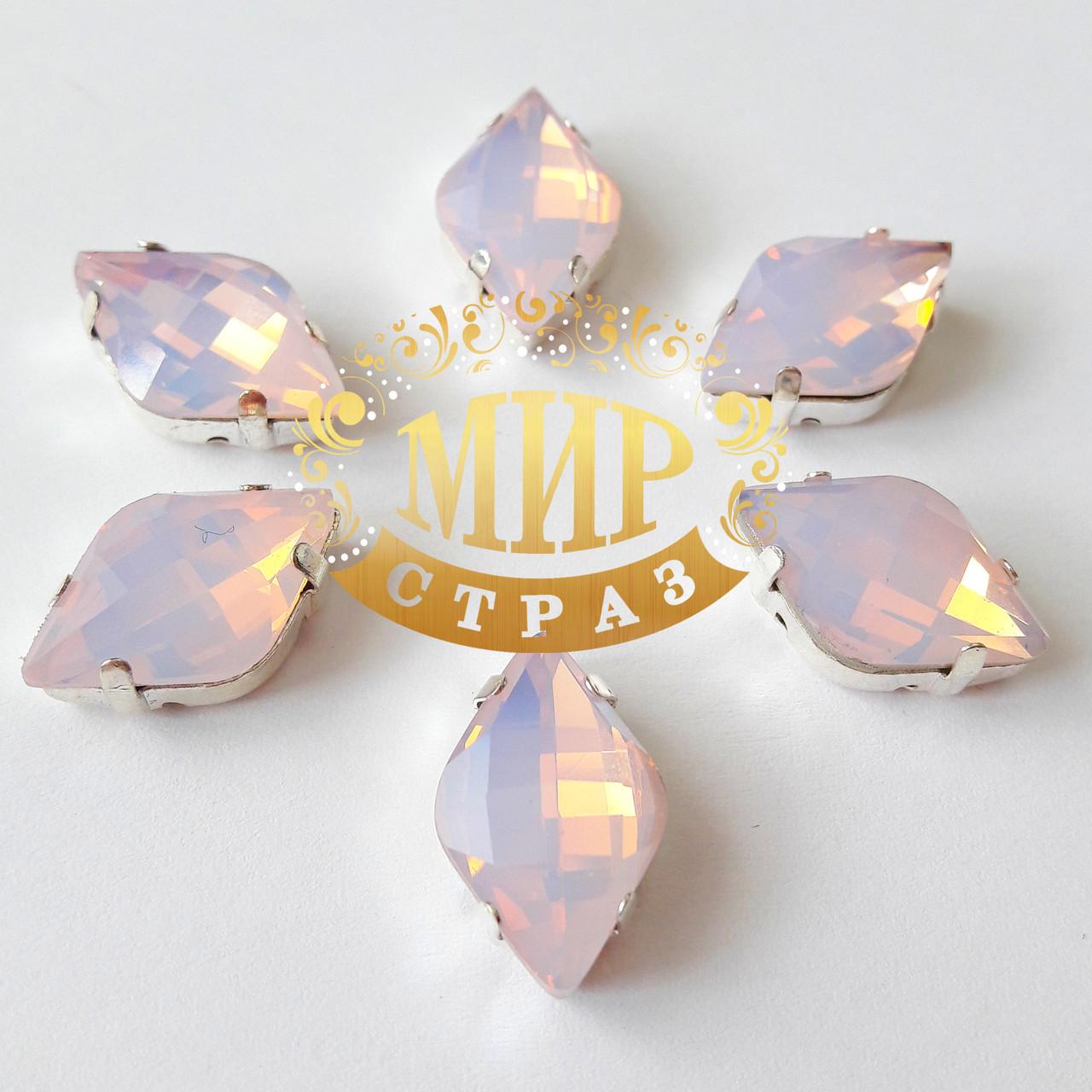 Cтразы в серебряных цапах Лимонки, 12х20мм, цвет Pink Opal, 1шт