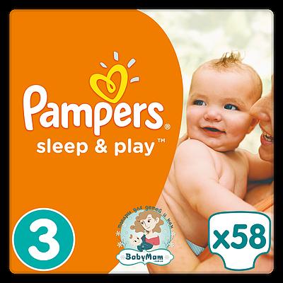 Подгузники Pampers Sleep & Play Размер 3 (Midi) 5-9 кг, 58 подгузников