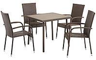 Комплект садовой мебели коричневая, искусственный ротанг  (4 стула и столик)