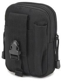 Тактическая универсальная (поясная) сумка - подсумок Mini warrior с системой M.O.L.L.E Black (с001)