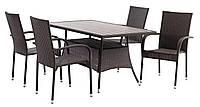Комплект садовой мебели коричневая, искусственный ротанг  (4 стула и стол 150 см), фото 1