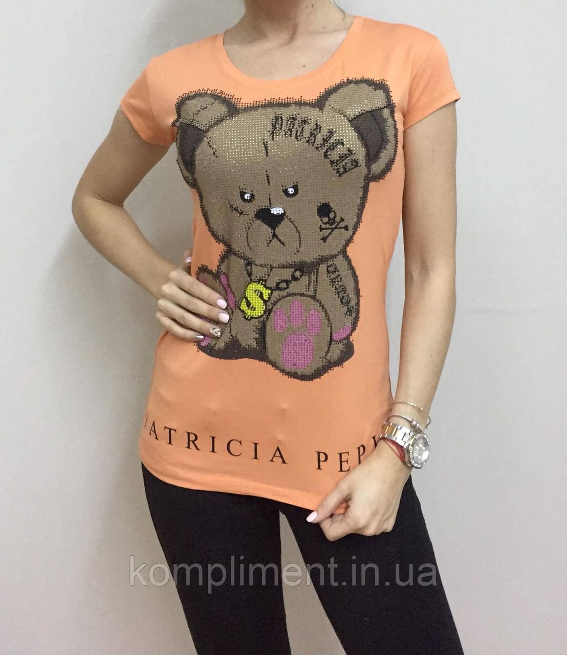 Летняя женская турецкая футболка  рисунком мишки оранж