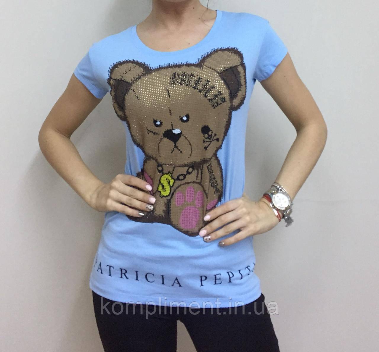 Летняя женская турецкая футболка  рисунком мишки голубой