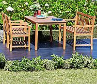 Комплект садовой мебели из дерева (стол + 2 кресла + лавочка), фото 1