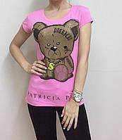 Летняя женская турецкая футболка  рисунком мишки розовая