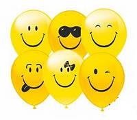 Гелиевые шары в виде желтых смайлов на детские праздники
