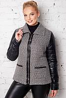 Женская куртка из букле и плащевки 50 - 60рр серая