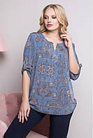 Стильная женская блузка Катерина больших размеров (52-62)Джинс