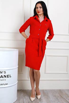 Платье с рубашечным воротником, пуговицами и карманами, под пояс, фото 2