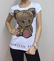 Летняя женская турецкая футболка  рисунком мишки белая