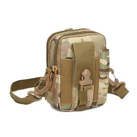 Тактическая универсальная (поясная) сумка - подсумок с ремнём Mini warrior с системой M.O.L.L.E (с102)