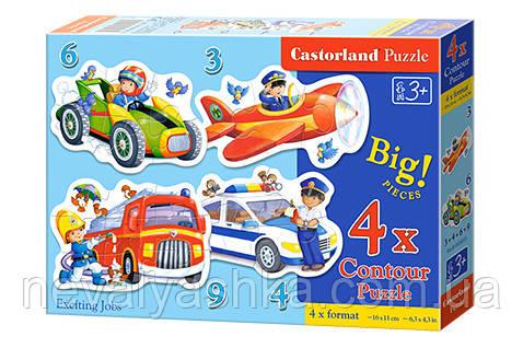 Пазл Castorland 4 в 1 Професии 3, 4, 6, 9 эл., В-005055, 006913