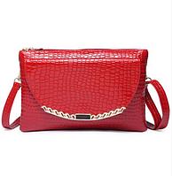 Женская лаковая красная сумка-клатч. Розница, опт в Украине