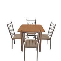 Комплект для кафе: стол обеденный Хром + 4 стула Кристи