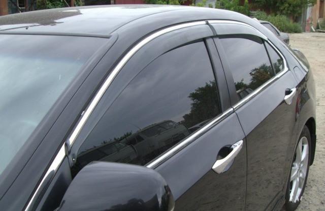 Дефлекторы окон ветровики на HONDA Хонда Accord 2008-2012 Sedan (с хром молдингом)