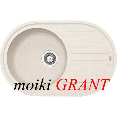Кухонная гранитная мойка овальной формы с одной чашей и крылом от ТМ Grant модель Mars цвет avena