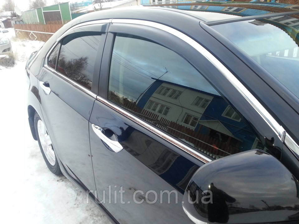 Дефлекторы окон ветровики на HONDA Хонда Accord 2008-2013 Sedan С Хром Молдингом