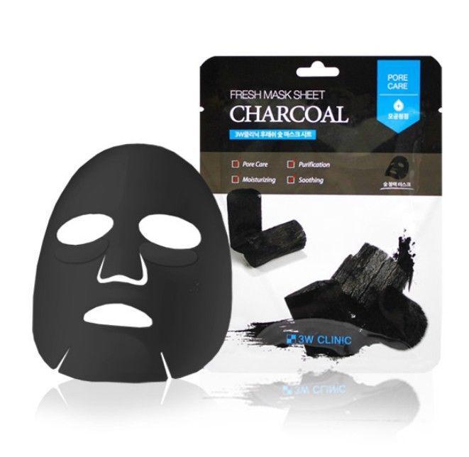 Очищающая маска с древесным углём 3W Clinic Fresh Mask Sheet Charcoal